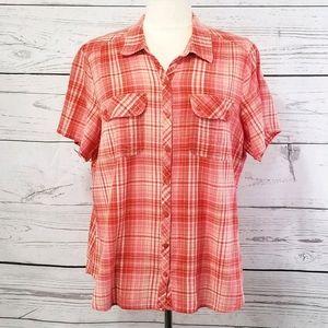 Eddie Bauer Crinkle Cotton Plaid Button Down Shirt